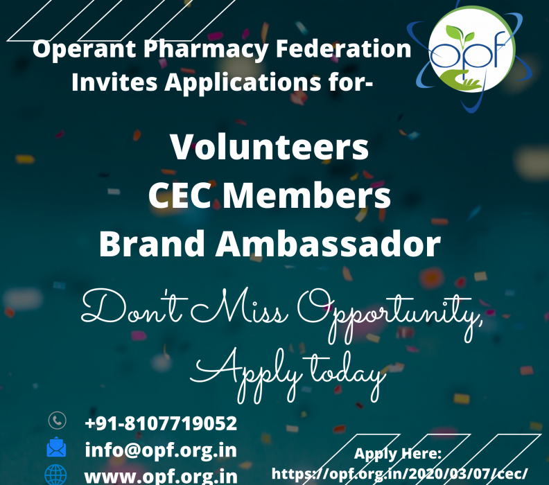 OPF Invites Applications for New Volunteers, Brand Ambassador, CEC Members & College Coordinators etc.